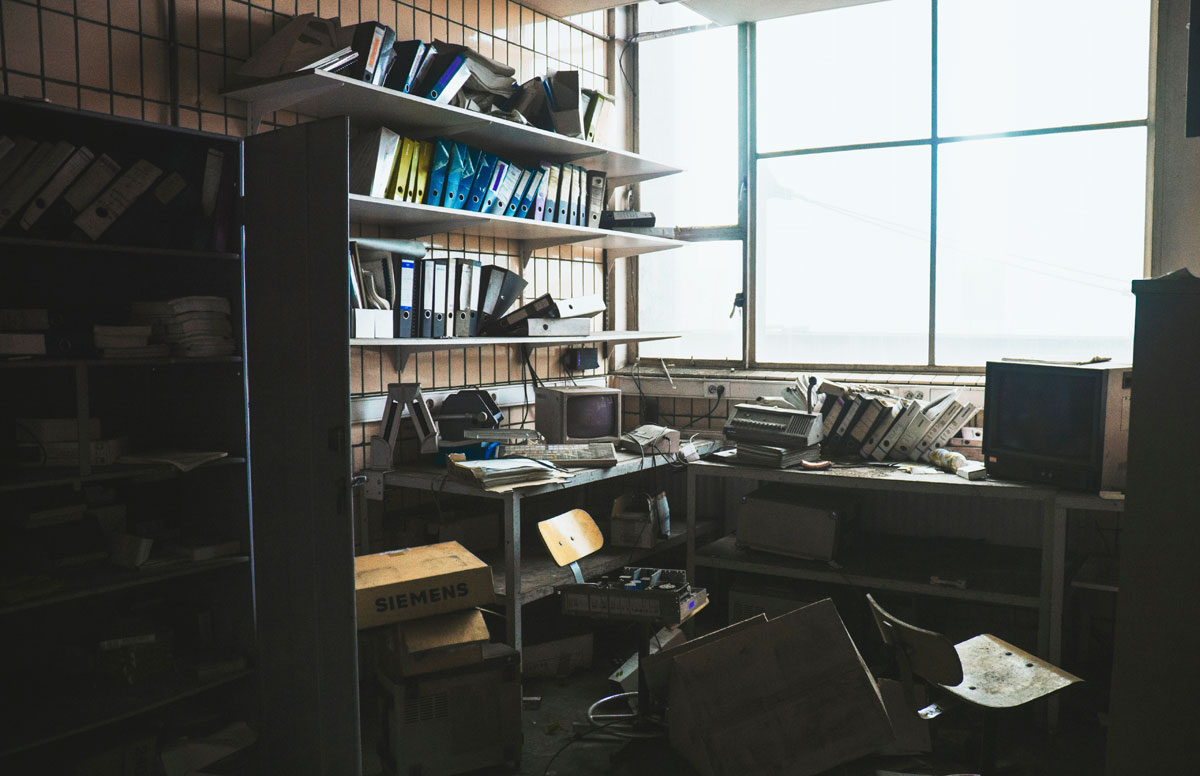 A cluttered office